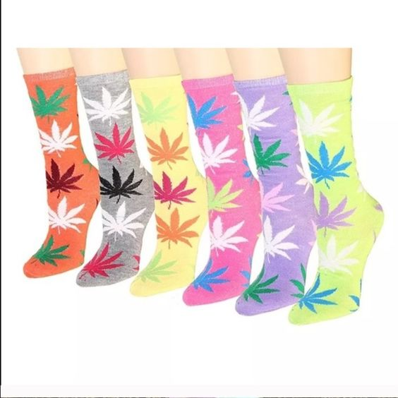 NEON GREEN MARIJUANA SOCKS COTTON AND POLY. FITS SHOE SIZE 4-10. Nwot but new retail. No trades. Accessories Hosiery & Socks