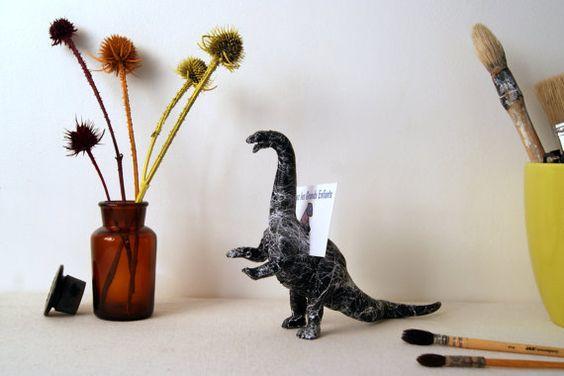 Organiseur de bureau Dinosaure Marbre. Porte-cartes, porte-notes. Figurine Dinosaure noir et blanc. Décoration et accessoire de bureau