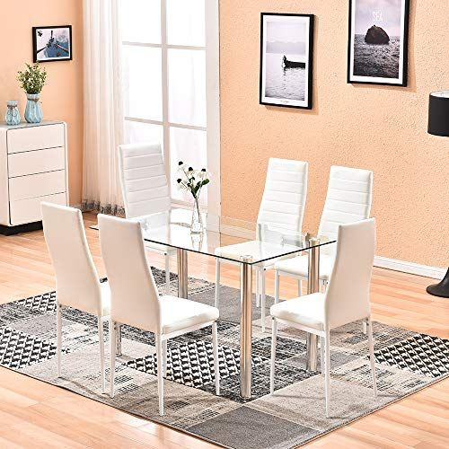 4homart Dining Table With Chairs 7 Pcs Glass Dining Kitchen Table Set Modern Tempered Glass In 2020 Black Dining Table Set Dining Table Chairs White Dining Room Sets