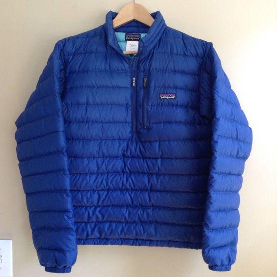 Mens XS Patagonia Down Sweater Jacket 1/2 Zip Royal Blue Climb Hike Camp…