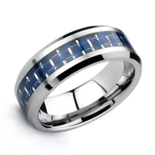 Bling Jewelry Tungsten Carbide Carbon Fiber Cobalt Blue Inlay Ring 8mm - Fashion Jewelry