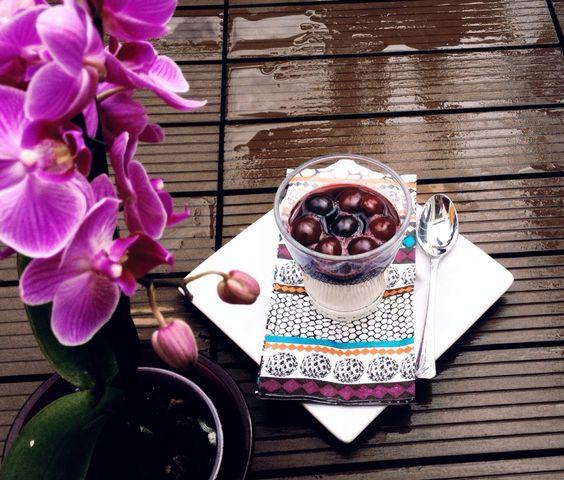 #pannacotta#homemadefood#sweet#dolci#cherry#rain#purple