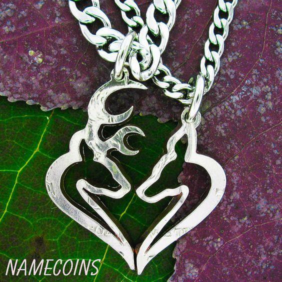 Buck and Doe Heart Hunters Kissing Necklace Set, Half Dollar, hand cut coin on Wanelo