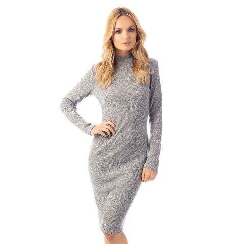 Mock Neck Long Sleeve Ribbed Dress - Fashion Union