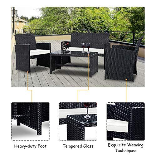 Goplus 4 Piece Rattan Patio Furniture Set Garden Lawn Pool Backyard Outdoor Sofa Wicker Conversation Set With Weather Resistant Cushions And Tempered Glass Tabl Outdoor Furniture Sets Patio Sofa Set Patio Furniture