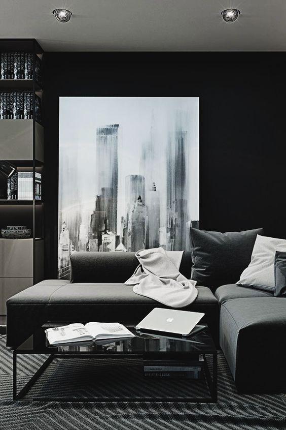 Black Room Design Ideas Part - 35: Dark Living Room Design Furniture Ideas Among Contemporary Furniture |  Attractive Dark Ambiance With Monochromatic Room Design | Pinterest | Dark  Living ...