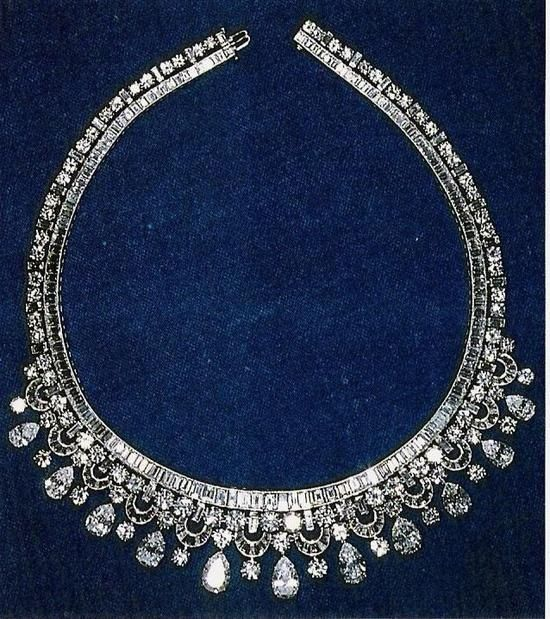 Necklace made by Harry Winston, owned by Queen Elizabeth. It was given to her by King Faisal of Saudi Arabia in 1967.