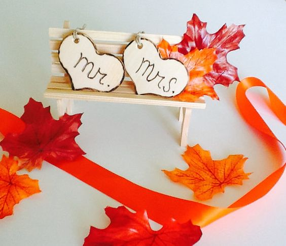 Fall Park Bench Cake Topper-Fall Mr Mrs by NauticalWeddings