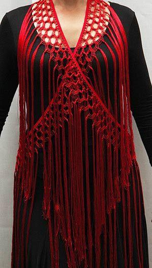 Flamenco, Mantoncillo de flecos artesanal - Rojo, Mantoncillo/Shawl