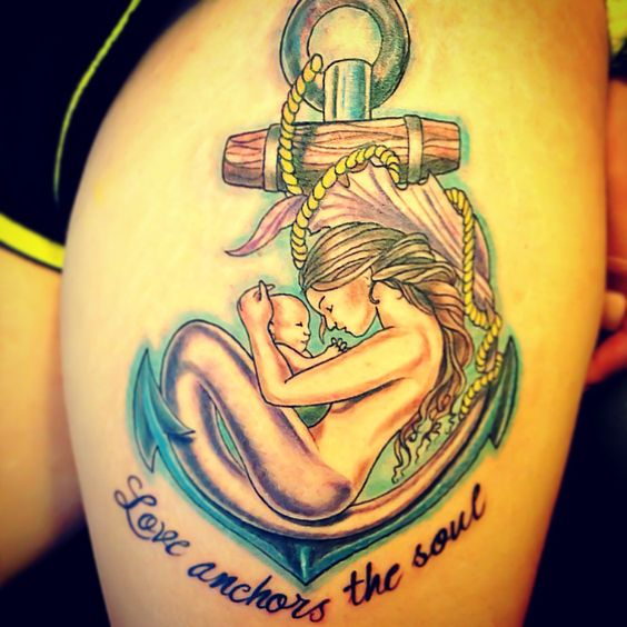 Some Of Lovely Looking Mother And Son Tattoo: Mother And Son ''Love Anchors The Soul""