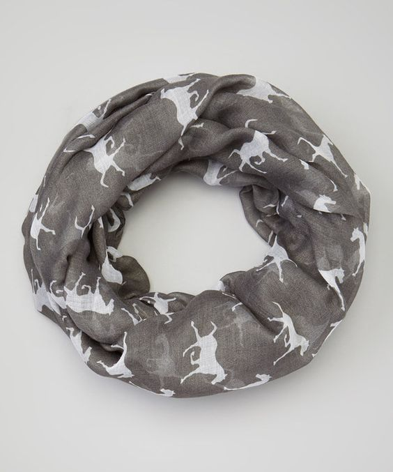 Look at this Bubbly Bows Gray Horses Infinity Scarf on #zulily today!
