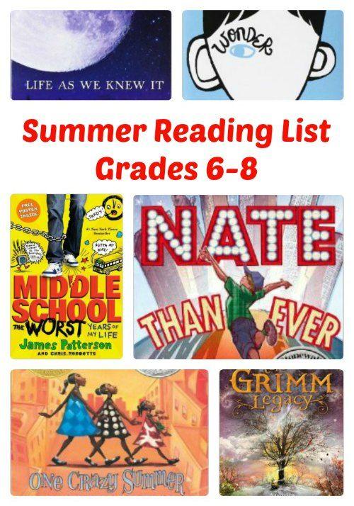 summer reading list grades 6 8 reading lists summer
