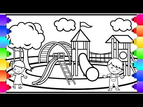Learn How To Draw And Color A Playground Coloring Page With Swings And A Slide Youtube Coloring Pages Disney Coloring Pages Coloring Books