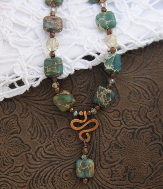 Blue Empress Jasper Necklace, Gemstones with Handmade Copper Focal, Copper & Crystal Accents, Blues, Greens, Rust, handmade artisan jewelry by WiredWithLoveJewelry on Etsy