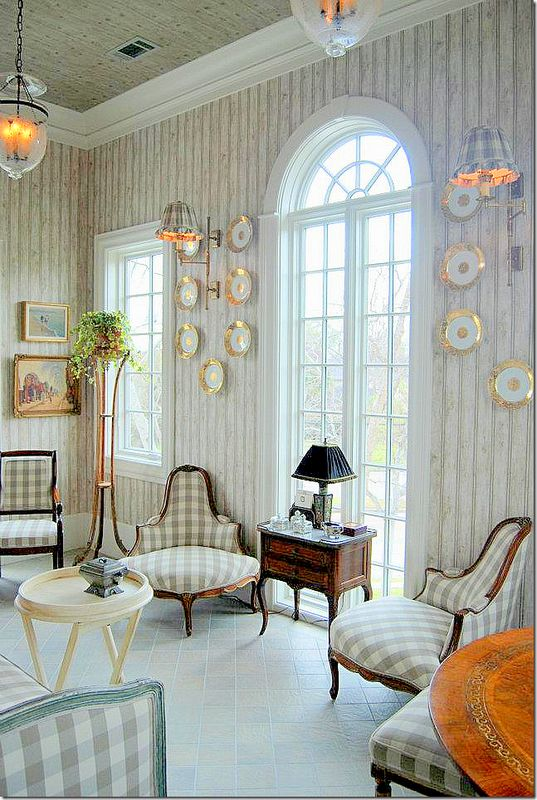 Beautiful Matching French Corner Slipper Chairs...like the way the check fabric is placed on the seat.