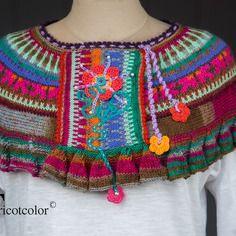 """Chauffe-bras tricotcolor tricoté main en pure laine """" petit jacquard folk """""""