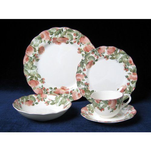 """Nikko Precious 8-Inch Salad Plate by Nikko Ceramics-Dropship. $10.55. Crafted from fine Japanese ironstone with underglaze decoration. Salad plate from the popular Precious pattern; 8 inches in diameter. Safe in the microwave, oven, and dishwasher; made in Japan. Broad borders with muted pink rose blossoms and dusty green leaves. Scalloped edging and fluting complement the romantic motifs. """"Precious"""" continues to be one of Nikko's most popular patterns in the United States, si..."""