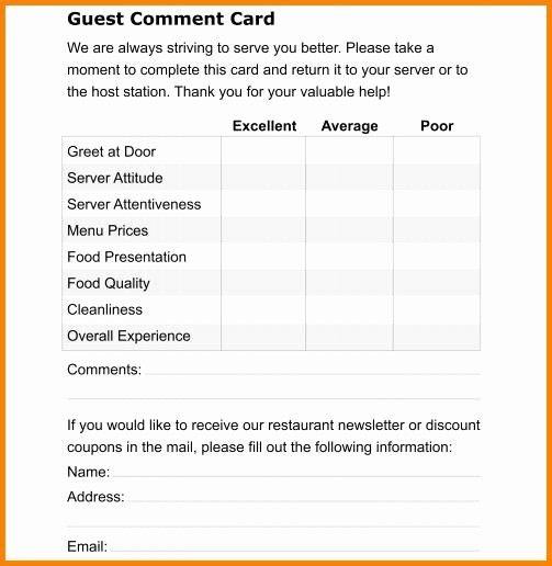 Restaurant Comment Card Template Free Elegant Ment Card Template Card Templates Free Card Template Card Templates