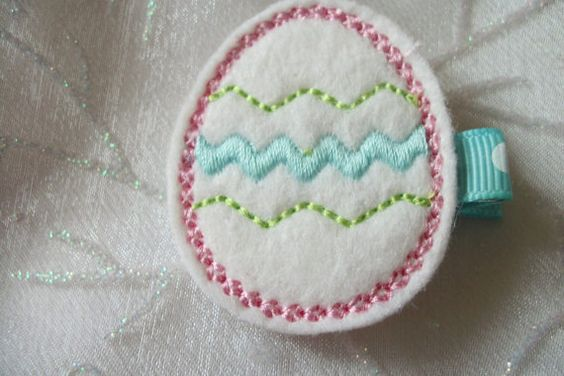 Boutique Embroidered Felt  Easter Egg Hair by pachwilliamson, $3.00
