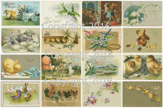 Vintage Easter Cards Printed Collage Sheet  #101
