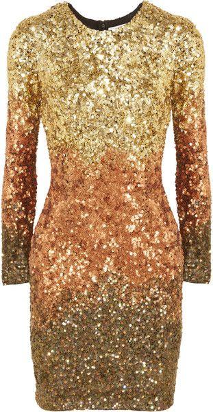 RACHEL GILBERT Shivaun Dégradé Metallic Sequined Dress