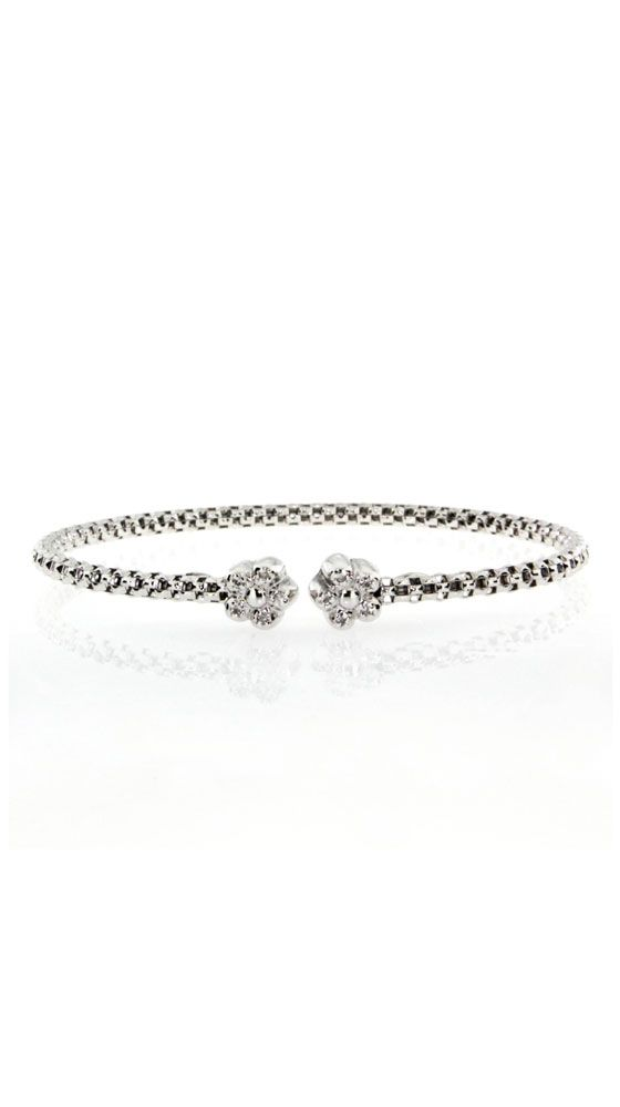 Sterling Silver Italian Cable Diamond Fiore Bracelet. by Savvy Cie