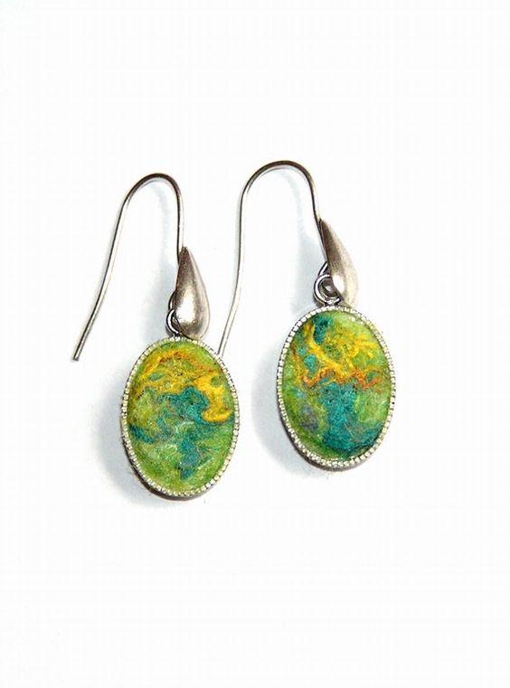 Felt Earrings Lemon merino wool  green yellow silk by lannarfelt, $26.00