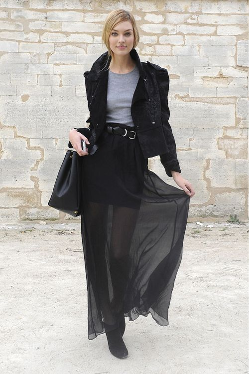Black sheer maxi skirt outfit – Modern skirts blog for you
