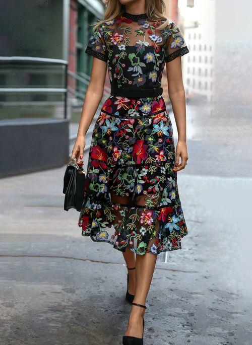 Lassige Kleidung Kurze Armel Blumen Maxi Kleider Floryday Kleidung Kleidung Mode Lassig Kleidung