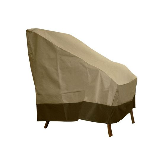Patio Armor Dark Taupe Polyester High-Back Patio Chair Cover, Dark Taupe/Olive Green Trim