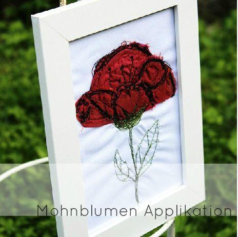 Red poppy free motion application DIY on http://www.kluntjebunt.at/2014/07/mohnblumen-tutorial.html