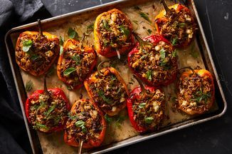 Stuffed Peppers With Lamb Orzo Halloumi Recipe On Food52 Recipe In 2020 Stuffed Peppers Recipes Food 52