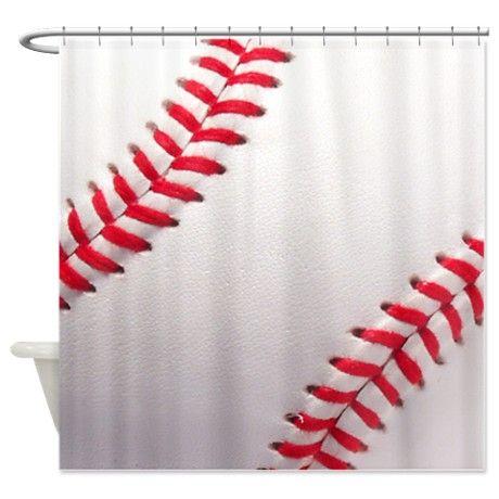 Baseball sports theme shower curtain the o 39 jays for Sports themed bathroom ideas