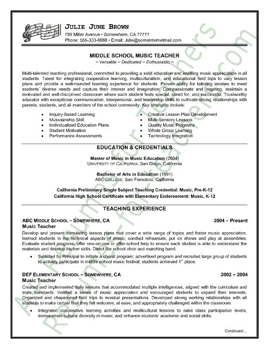teacher resumes resume examples and resume on pinterest
