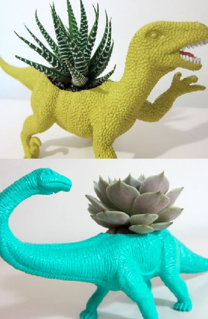 Recycled planters..we have so many plastic dinosaurs in our house! Perfect solution!