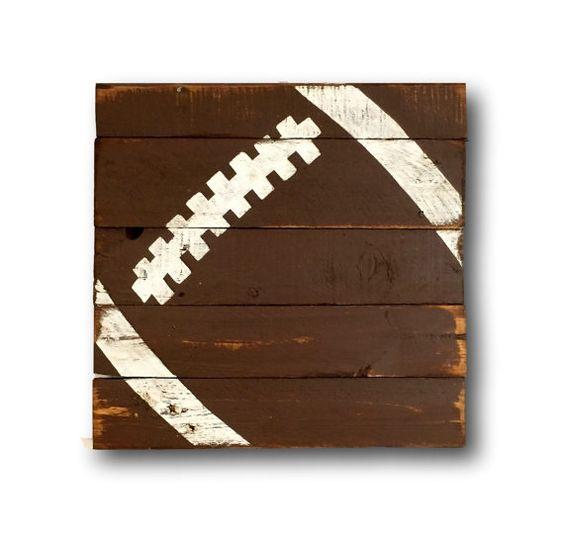 Football Wall Art Sports Decor Rustic Vintage Football Sign Caves Messa