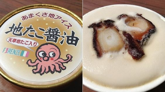 Octopus Ice Cream with soy sauce