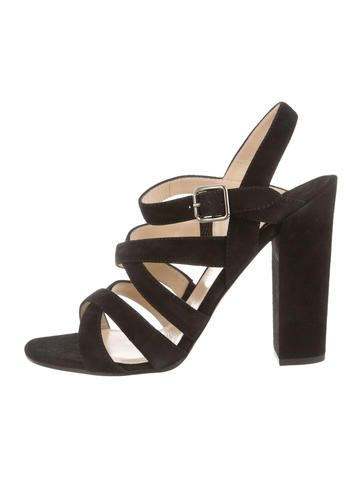 Black Suede Paul Andrew Round-Toe Crossover Sandals #WhatToWear #EasterBrunch