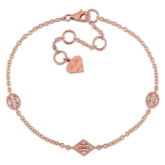 Miadora 14k Rose Gold Diamond Accent Charm Station Bracelet Women's