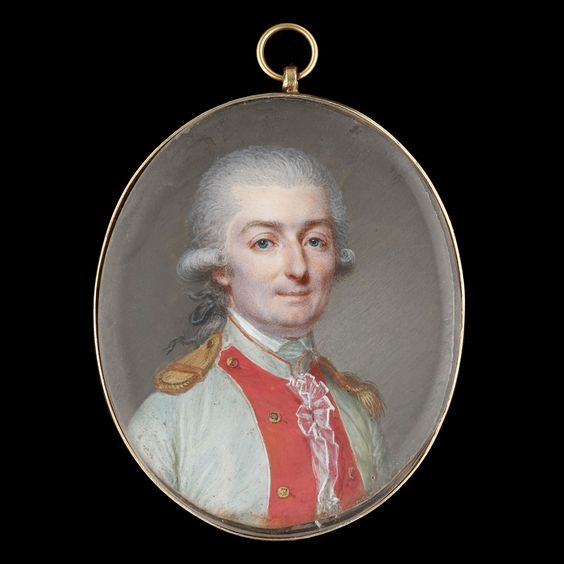 Zoomable Image of Portrait miniature of An Officer called Monsieur de Saint-Marsault, wearing the uniform of a royal regiment infantry officer, his white uniform with red facings and gold epaulettes, his hair powdered and worn en queue: