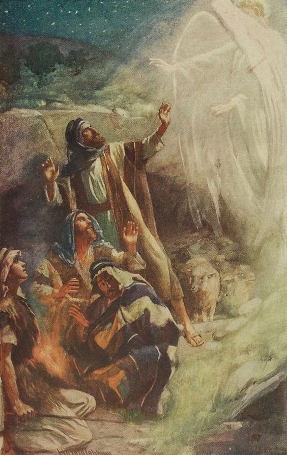 Archangel Gabriel announcing the birth of Jesus to the shepherds ~ Harold Copping artist {c. 1920's}: