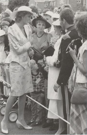 1987-07-29 Diana at the Tidworth Garrison in Wiltshire to present a new Guidon to the 13th/18th Royal Hussars