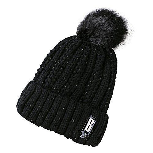 Schöne Warme Beanie Mütze mit Bommel