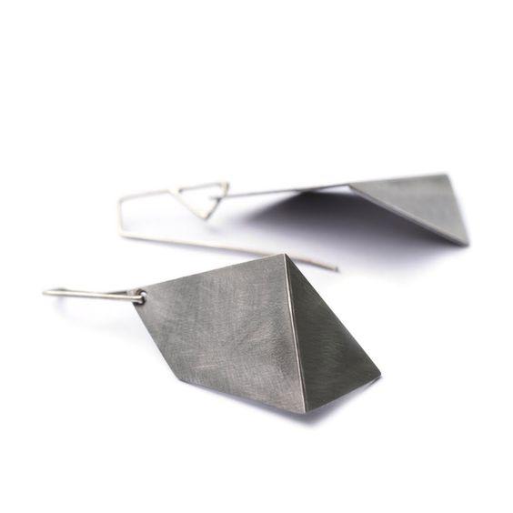 I adore these  earrings!   Large Single Fold Earring // Steel  By Sarah Loertscher