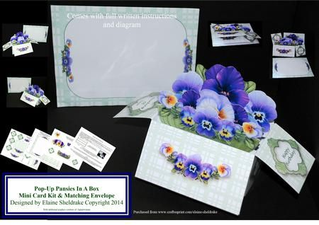 Pansies Pop Up Box Card Matching Envelope on Craftsuprint designed by Elaine Sheldrake - This small but very impressive pop-up box card with a matching envelope is very easy to make. It folds flat for posting, comes with optional greetings and full instructions. - Now available for download!