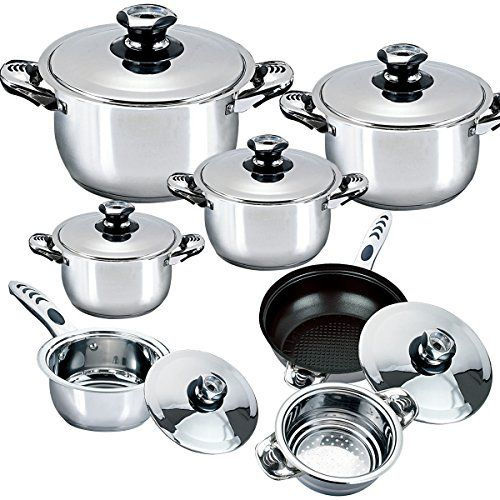 Riwendell Stainless Steel 13 Piece Cookware Sets With Thermometer