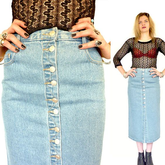 HOLA VINTAGE 90s Grunge Denim High Waist Midi Skirt - Blue Denim ...