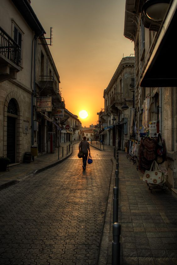 Sunset in the old town of Limassol, Cyprus.
