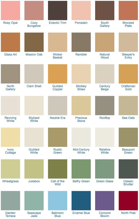 California Paints Craftsman Exterior Colors 1900-1920.  The Arts and Crafts style emphasized the hand-crafted and the natural in all aspects of the home. In the natural grains of woods, especially golden oak, and in the textures and variegated shades of stone, tile, leather and metals, the Arts and Crafts palette includes earth tones as well as unexpected shades.