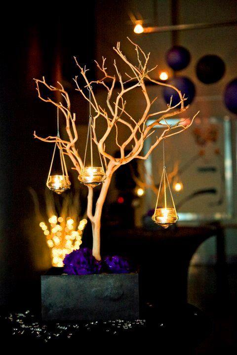 Diy manzanita centrepieces wedding black purple